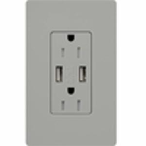 LUTRON#15A USB RECEPT GRAY