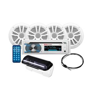 BOSS Audio Systems MCK508WB.64S Marine Receiver Speaker Package, Bluetooth, CD MP3 USB, AM FM Radio, 4 6.5 Inch Speakers, Antenna, Auxiliary Cable