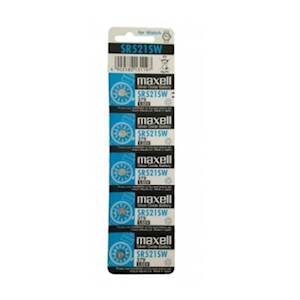 Maxell SR521SW 1.55V Silver Oxide Battery (5pcs per pack)