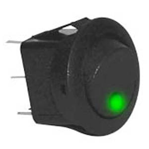 AA ROUND GRN LED ROCKER SWITCH
